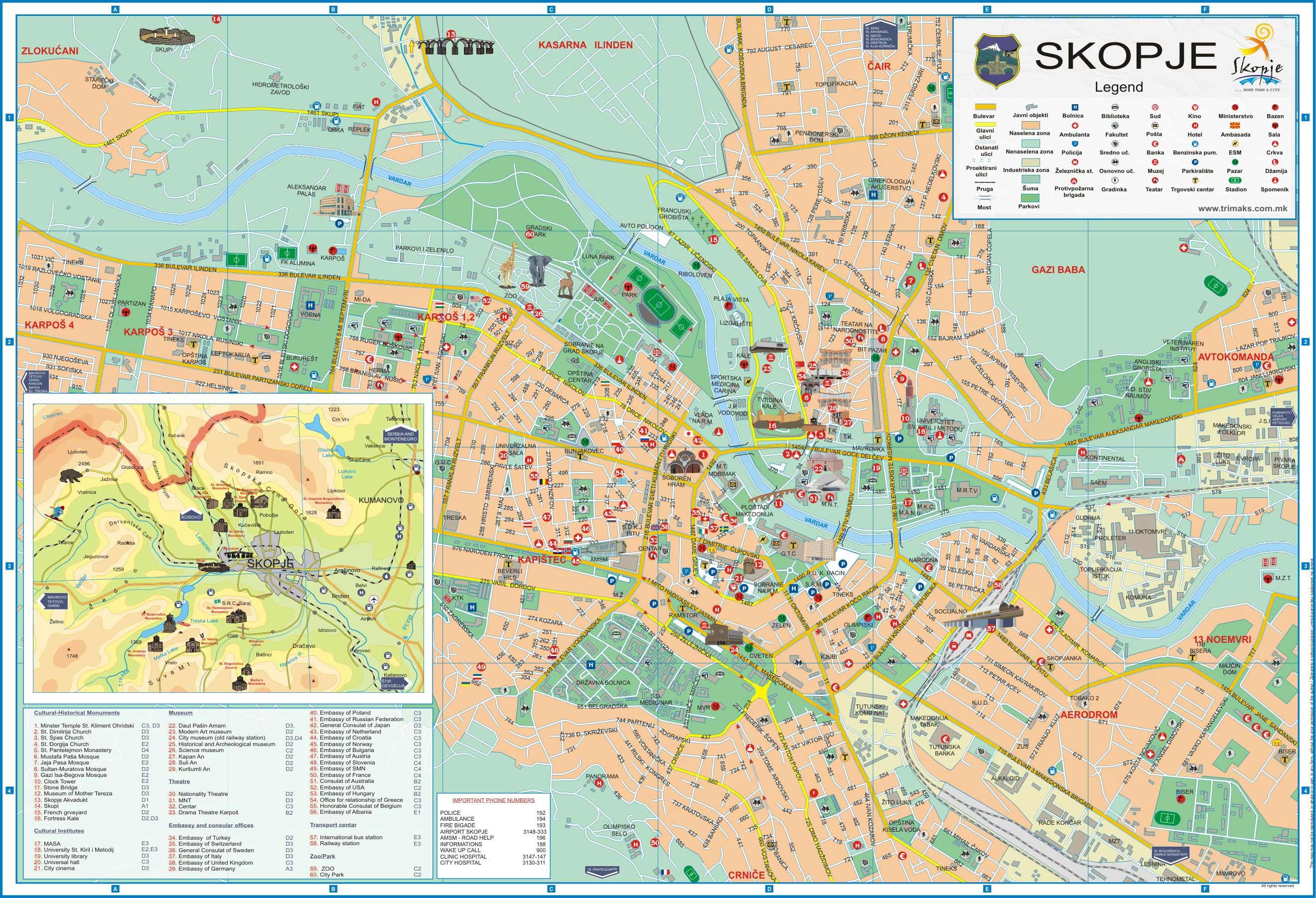 Mapa Monumentos Skopje